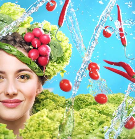 ritratto alimento naturale di una giovane donna photo