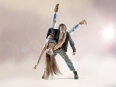 easy going: Young talented dancers practising to the contest Stock Photo