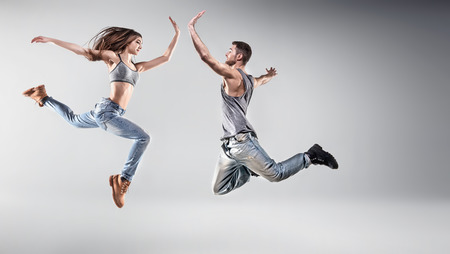 Portrait of a young dancing friends Stock Photo