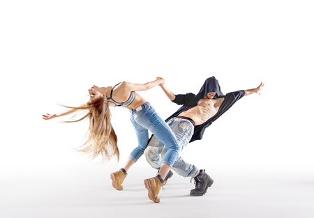 easy going: Two talented breakdancers practising together