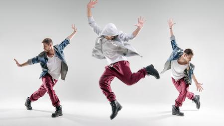 人像一個有才華的人跳舞的