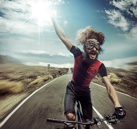 面白い叫んで自転車の肖像画 写真素材