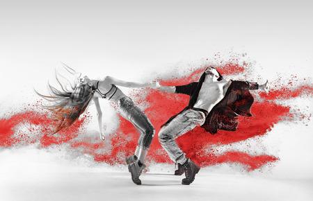 Blac y negro retrato de talento, bailarines del salto de la cadera joven Foto de archivo