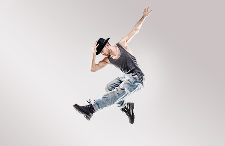 male fashion: Fashion shot of a talented hip hop dancer