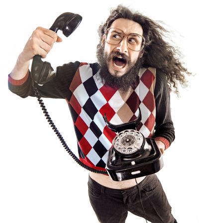 nerd: Nerdy man talking to the shouting person