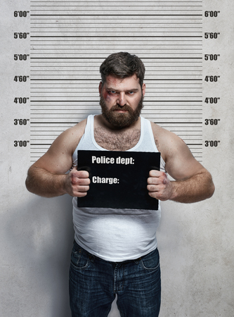 secret information: Portrait of an obese hardened criminal Stock Photo