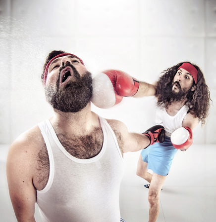 nerdy: Two nerdy pals boxing on the ring