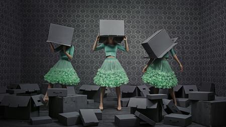 fondo elegante: Foto de la bella collage de tres señoras de moda Foto de archivo