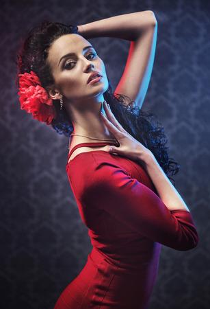 Portrait einer jungen, hübschen Flamenco-Tänzerin Standard-Bild