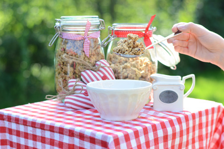 breakfast garden: Tasty and healthy breakfast in the summer garden Stock Photo