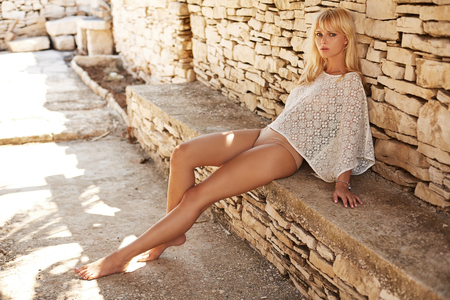 Photo of a young pretty woman blond