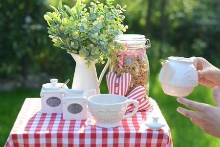 breakfast garden: Image of a healthy breakfast in the garden