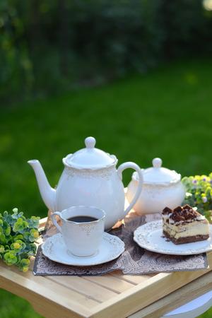 breakfast garden: Luxury french breakfast served in the summer garden