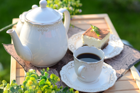 breakfast garden: Sweet breakfast served in summer garden Stock Photo