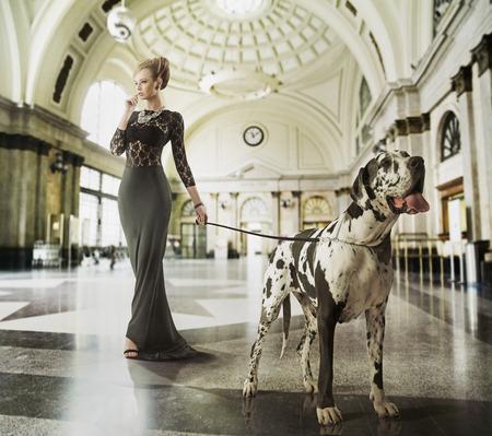 巨大な犬のウィットを歩く若い女性をスマートします。 写真素材