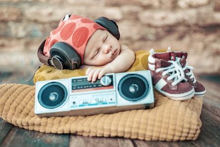 Closeup portrait of the young newborn DJ