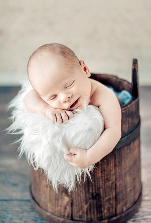 Portrait of a cute sleeping newborn tot Stock Photo
