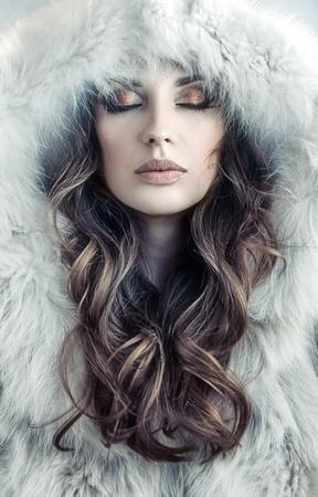 long: Portrait of an alluring, fresh lady winter
