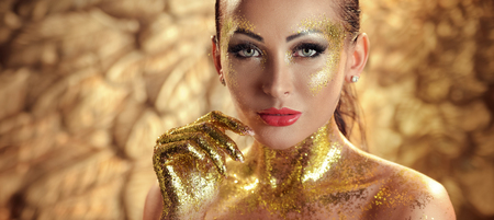 shine: Pretty brunette woman with golden skin