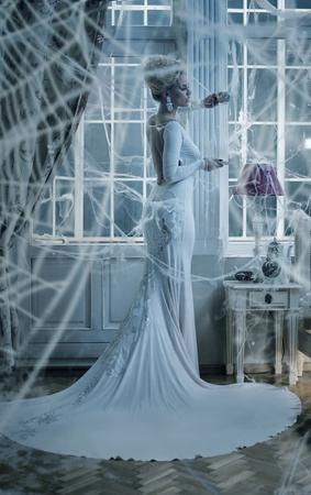 Ritratto concettuale di una donna elegante avvolto con un ragno di ragno