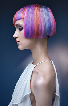 Portrait of a young lady with a colorful hairstyle Stock Photo - 76765794