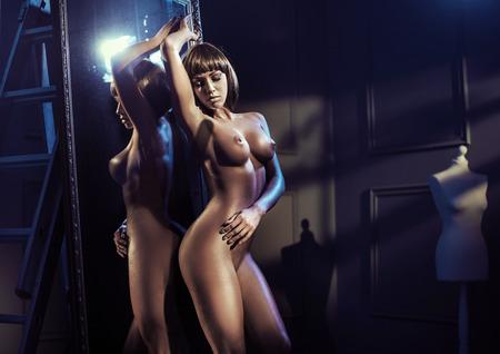 Ritratto di una bella donna nuda Archivio Fotografico