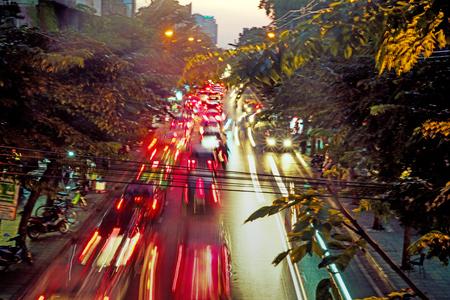 Immagine sfocata dell'ingresso di traffico asiatico Archivio Fotografico