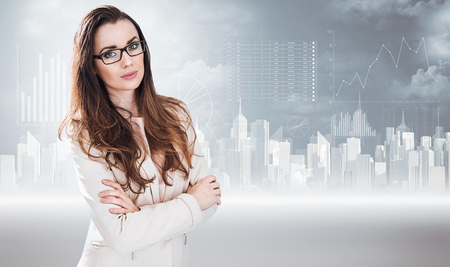 Businesswoman posing on a diagram background Archivio Fotografico