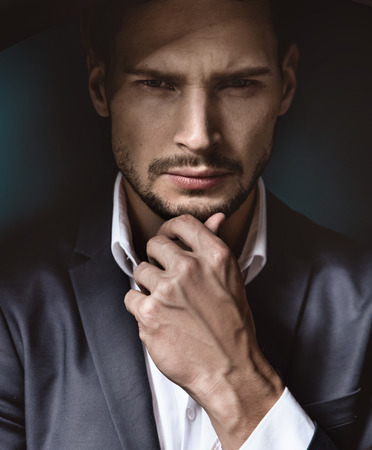 profession: Portrait of a handsome and thoughtdul businessman Stock Photo