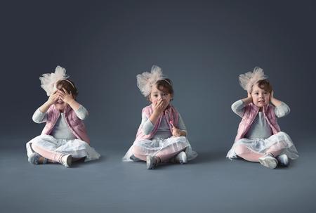 Collage di concetto artistico di una bambina carina photo