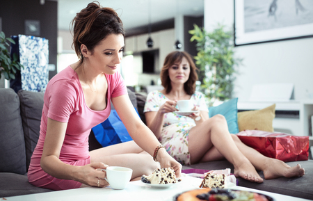 Chillout time, a cup of good coffee and sweet cake - girlfriends meeting