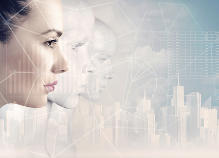 Woman and robots - artificial intelligence concept