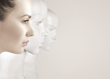 女性とロボット - 人工知能の概念 写真素材