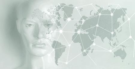 Artificial intelligence concept - globalization, Internet, network Banque d'images - 93948871