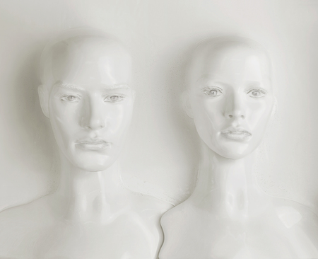 Two plaaster heads of mannequin - work of art Archivio Fotografico