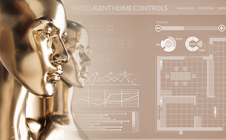 Artificial intelligence concept - smart house Imagens