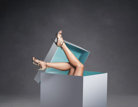 Conceptual picture of womens legs in the huge gift box Stok Fotoğraf