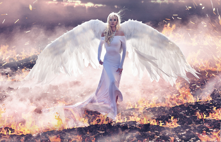 Conceptual portrait of an angel walking on the hell flames Archivio Fotografico - 113713568