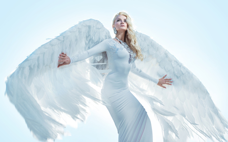 Portrait of an elegant, blond archanangel Stock Photo