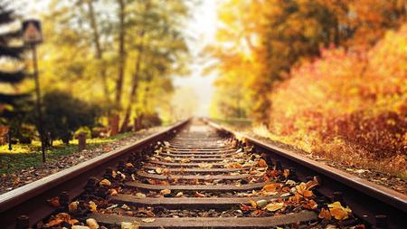 Coloridas hojas de otoño cayendo sobre las vías del tren Foto de archivo