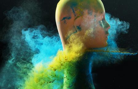 Mannequin head among the colorful dust cloud Banco de Imagens