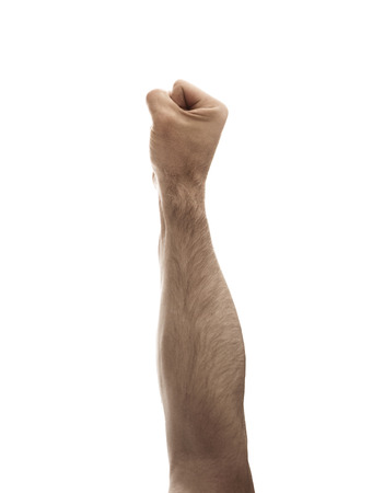 Male fist on the white, empy background - violence symbol