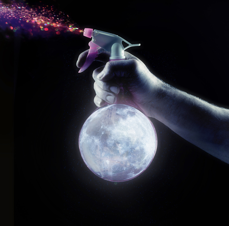 Conceptual picture of moon spray splashing colorful stars
