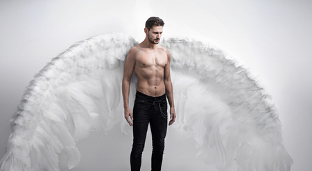 Portrtait of the handsome, serious angel - isolated