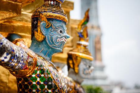the grand palace: Demons guarding Golden Stupa at Wat Phra Kaeo in the Grand palace, Bangkok, Thailand.