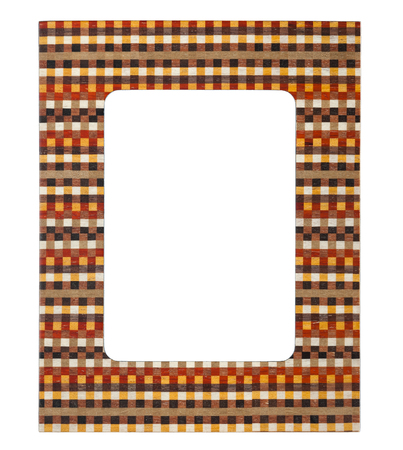 checker: Wooden picture frame with checker pattern isolated on white background. Stock Photo