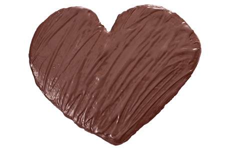 Homade chocolate heart isolated on white background.