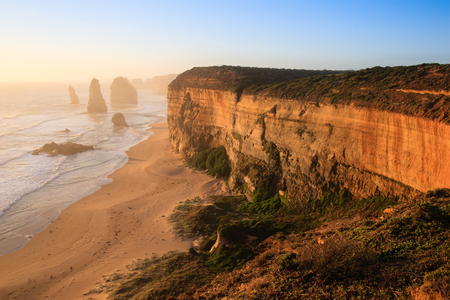 The famous Twelve Apostles rock formation on the Great Ocean Road, Victoria, Australia.