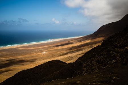 View of Cofete beach and Villa Winter from mountain, Fuerteventura, Spain.