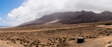 Panoramic view at cofete beach and Villa Winter in the southwestern part of the island of Fuerteventura, Canary Islands, Spain.